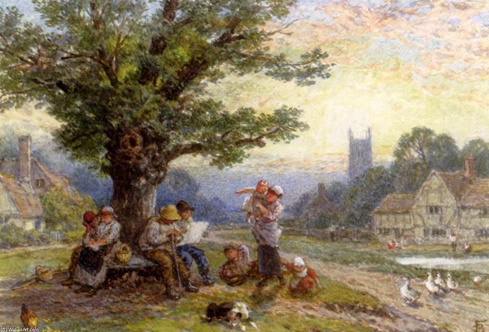 在一个村子里一棵大树下的数字和儿童 通过 myles birket foster
