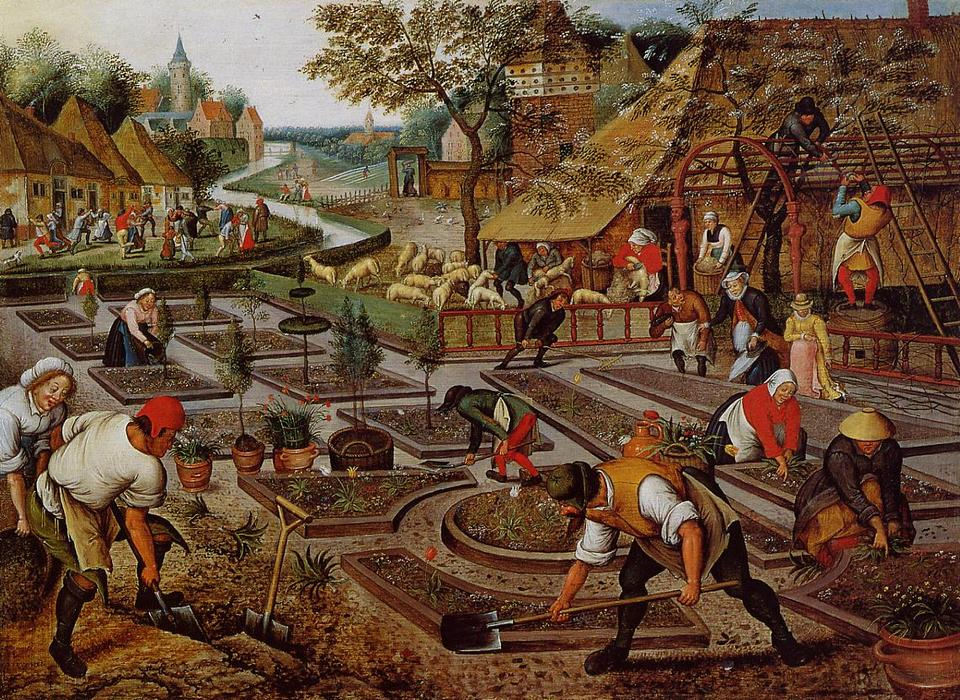 花坛的制备, 1617 通过 Pieter Bruegel The Younger (1525-1569, Belgium) | 藝術再現 Pieter Bruegel The Younger | WahooArt.com