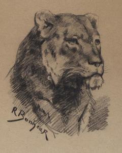 rosabonheur_买 集团集画布镜框丙烯画 - rosa bonheur - 头一 `lion` 1