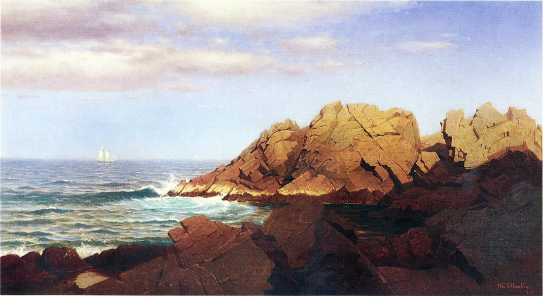 顺序 油畫 | 岩石Nahant 1 通过 William Stanley Haseltine (1835-1900, United States) | WahooArt.com