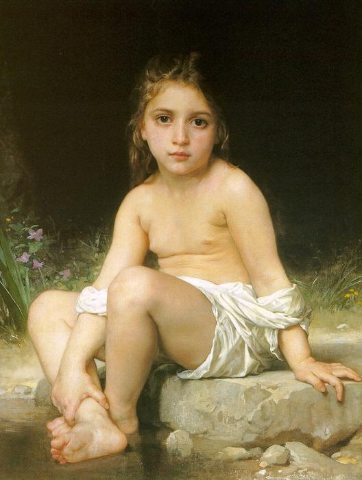 孩子 在  浴, 油画 通过 William Adolphe Bouguereau (1825-1905, France)