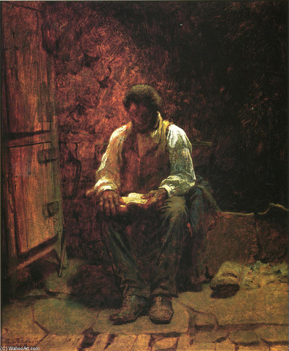 烟囱角落, 1863 通过 Jonathan Eastman Johnson (1824-1906, United Kingdom) | WahooArt.com