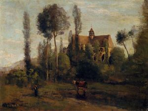 Jean Baptiste Camille Corot - 该教会在Essommes,靠近亨利堡