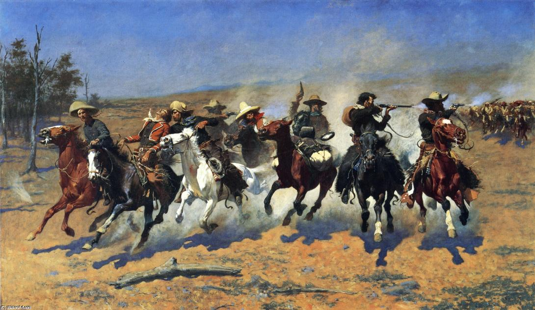 破折号的木材, 油画 通过 Frederic Remington (1861-1909, United States)