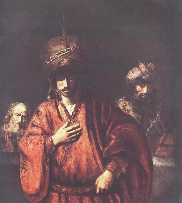 """""""大卫和乌利亚"""", 油画 通过 rembrandt van rijn (1606-1669"""