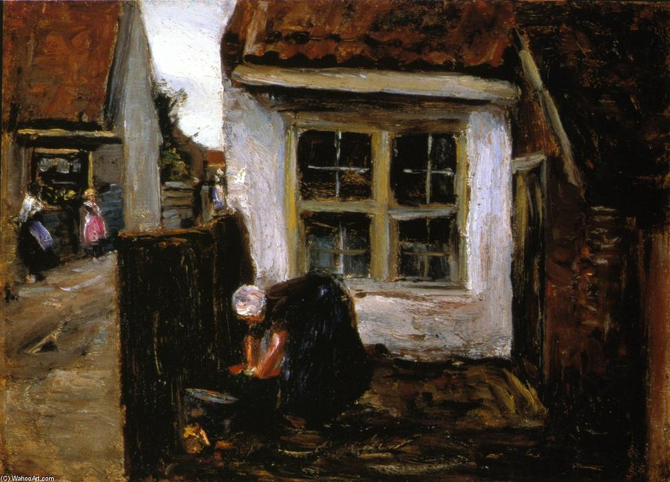 荷兰 `farmhouse`  与 女性, 1882 通过 Max Liebermann (1847-1935, Germany) | 畫複製 Max Liebermann | WahooArt.com