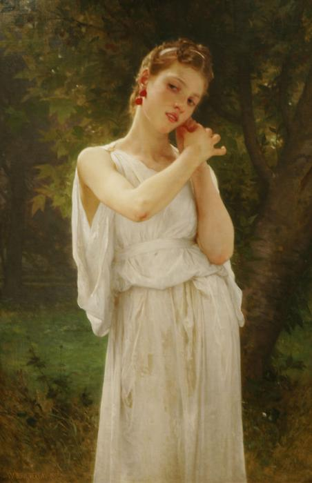 耳环, 1891 通过 William Adolphe Bouguereau (1825-1905, France)