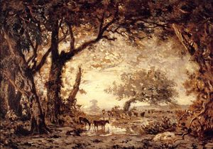 Théodore Rousseau (Pierre Etienne Théodore Rousseau) - 边缘 of  的 Forest of Fontainebleau