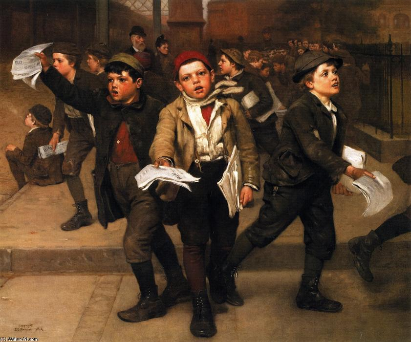 多余的!, 油画 通过 John George Brown (1831-1913, United Kingdom)