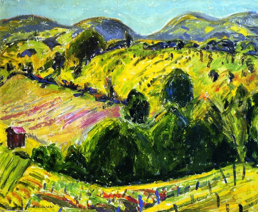 野兽派连绵起伏的丘陵景观, 壁画 通过 alfred henry