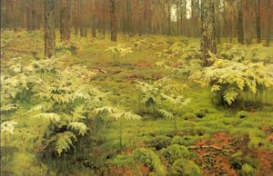 Isaak Ilyich Levitan - ferns`  在 森林