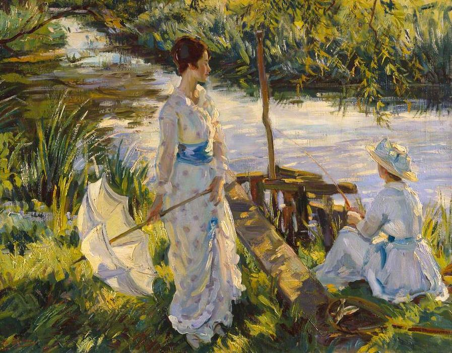 钓鱼, 布面油画 通过 Wilfred Gabriel De Glehn (1870-1951, United Kingdom)