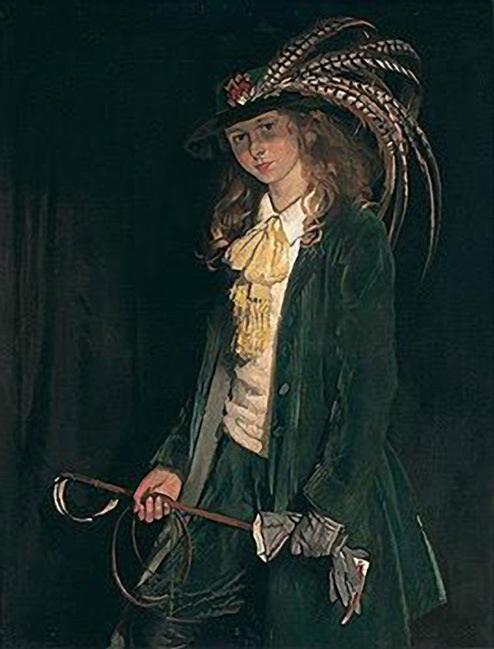 栀子圣乔治用马鞭 通过 William Newenham Montague Orpen (1878-1931, Ireland)