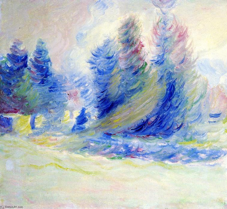 溱乔树,风,雪, 油画 通过 theodore earl butler (1861-1936, united