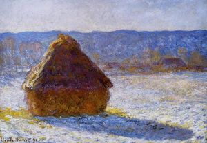 顺序 畫再現 : Grainstack  在  上午 , 雪效应, 1890 通过 Claude Monet (1840-1926, France) | WahooArt.com