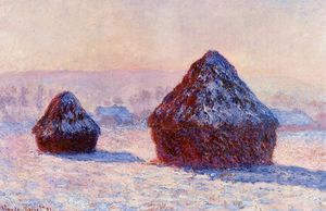 Claude Monet - 早上,雪效应Grainstacks