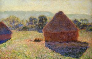顺序 畫複製 | 在阳光,中午Grainstacks, 1890 通过 Claude Monet (1840-1926, France) | WahooArt.com