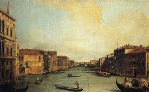 Giovanni Antonio Canal (Canaletto) -  大 运河 从  的  宫殿  巴尔比