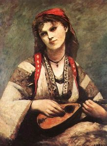 Jean Baptiste Camille Corot - gypsy`  与 a  洋琵琶