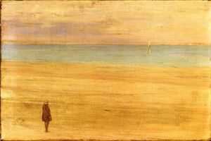 James Abbott Mcneill Whistler -  和谐 在  蓝色  和 银: `trouville`