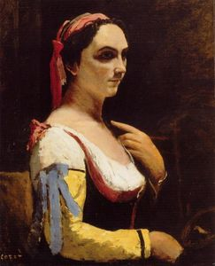Jean Baptiste Camille Corot -  意大利 女性  与 a  黄色