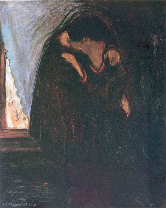 吻, 油画 通过 Edvard Munch (1863-1944, Sweden)
