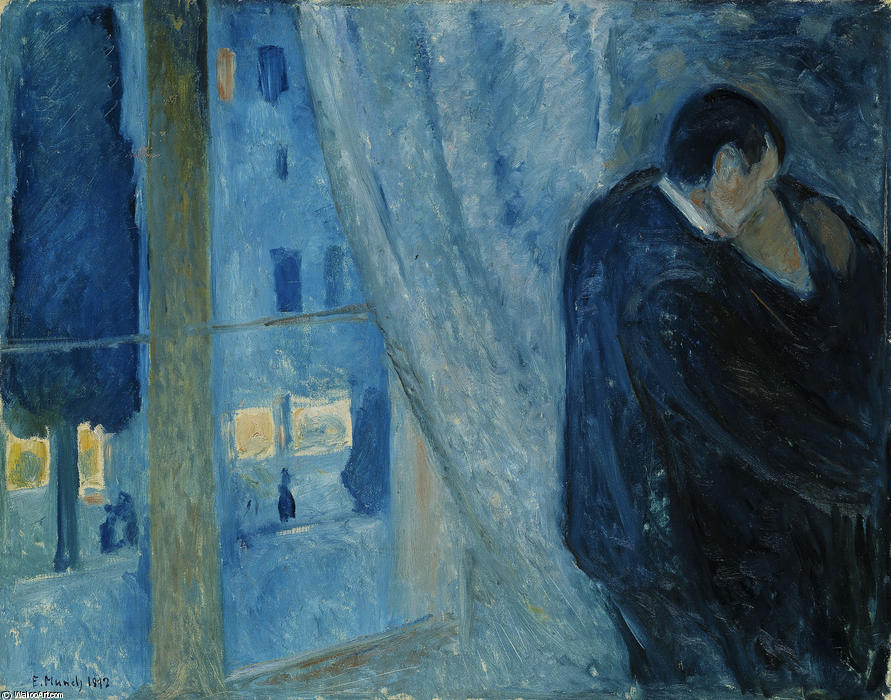 窗边吻, 1892 通过 Edvard Munch (1863-1944, Sweden)