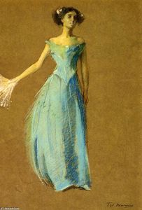 Thomas Wilmer Dewing - 在蓝夫人 肖像  的  安妮  拉撒路
