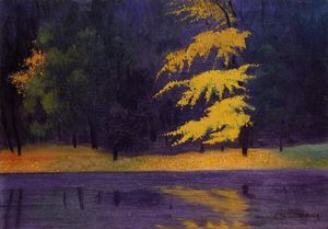 顺序 幀打印 :  的  湖 在  的  布瓦  德  布洛涅 , 1921 通过 Felix Vallotton (1865-1925, Switzerland) | WahooArt.com