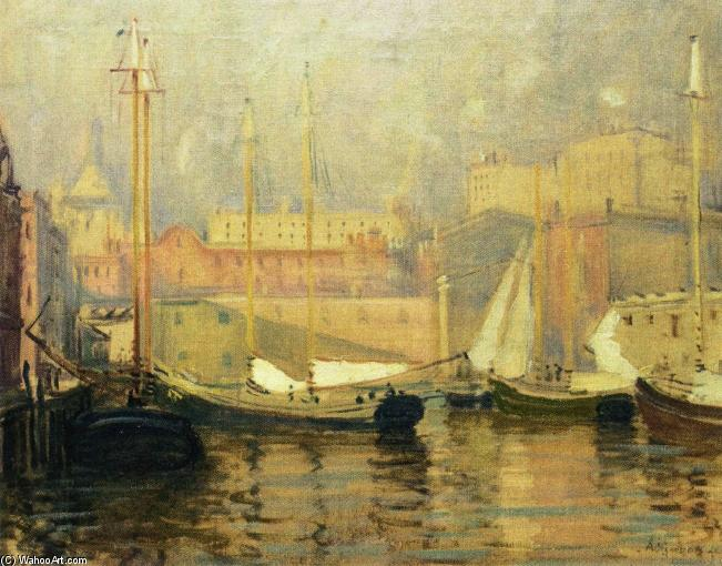 最后一眼 - T的码头, 油画 通过 Arthur Clifton Goodwin (1864-1929, United States)
