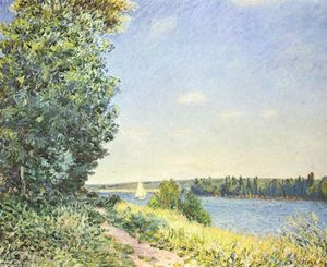 Alfred Sisley - 诺曼底 ,  the water path ,  在 evening at Sahurs