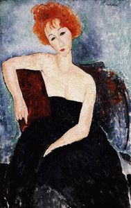 Amedeo Modigliani - Red-headed 女孩研究 晚礼服