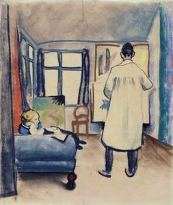 August Macke - Franz Marc and Maria 在 the studio ,  pastel , 伦巴赫美术馆 , 慕尼黑