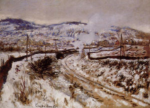 Claude Monet - train`  在 雪 在  阿让特伊