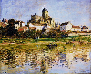 顺序 手工油畫 | Vetheuil,教会, 1880 通过 Claude Monet (1840-1926, France) | WahooArt.com