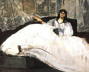 Edouard Manet - 珍妮 杜瓦尔 , Baudelaire's 情妇 , 斜倚 (  女士  与 a  风扇 )