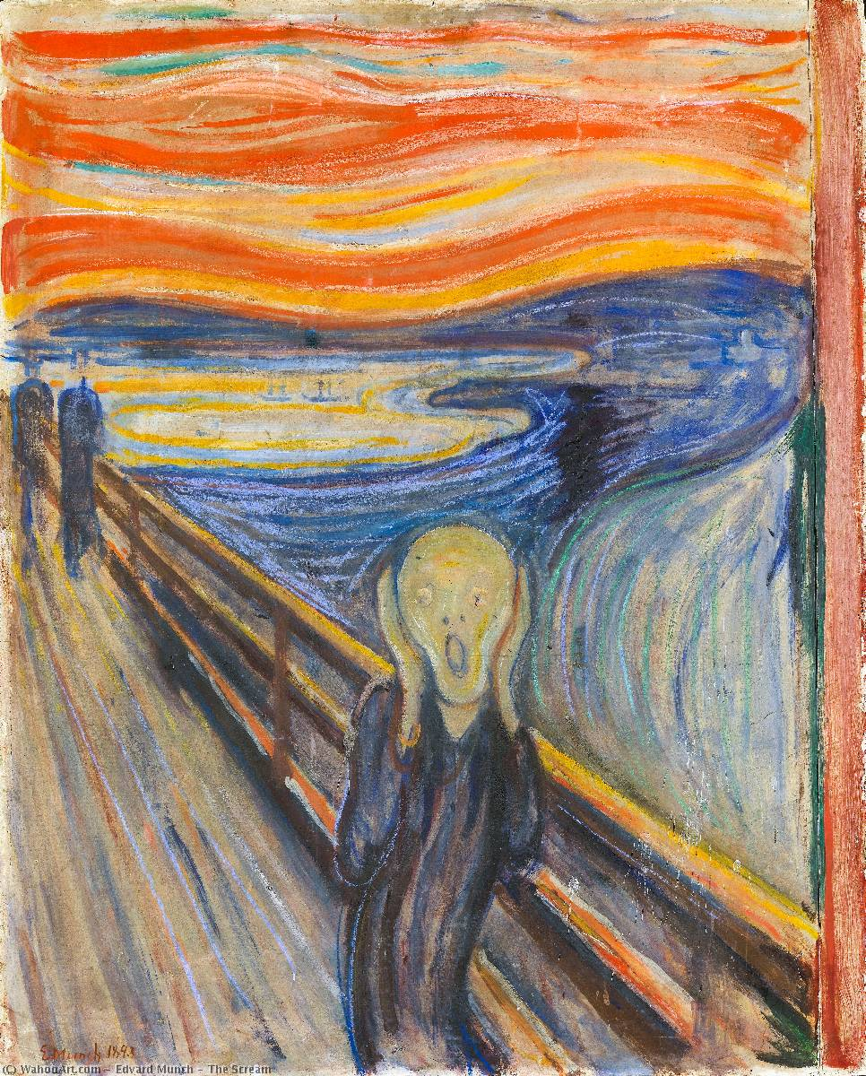 呐喊, 1893 通过 Edvard Munch (1863-1944, Sweden) | 手工畫 | WahooArt.com