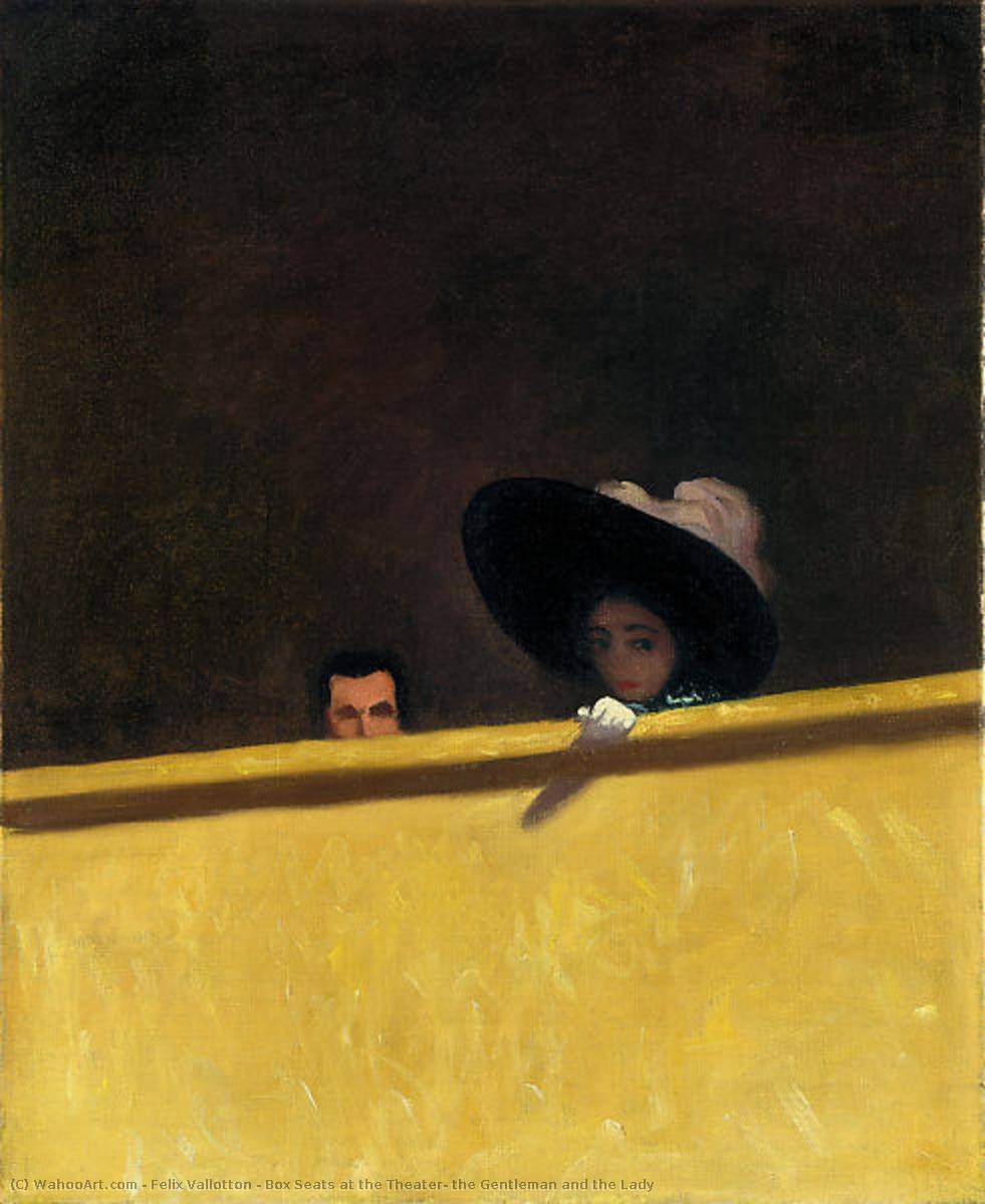 框 席  在 影院 , 君子  和 女士, 1909 通过 Felix Vallotton (1865-1925, Switzerland) | 幀畫冊專輯 | WahooArt.com