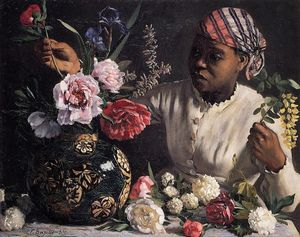 Jean Frederic Bazille - Negress与牡丹