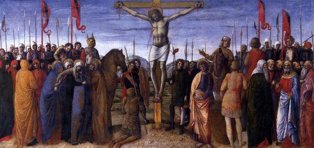 """""""的 被钉十字架"""", 蛋彩画 通过 jacopo bellini (1400"""