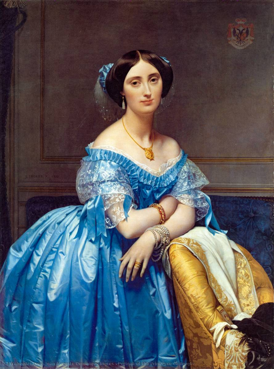 肖像公主德布罗意的, 1853 通过 Jean Auguste Dominique Ingres (1780-1867, France) | 幀畫冊專輯 | WahooArt.com