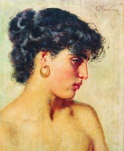 Konstantin Yegorovich Makovsky - 肖像 dark-haired 美女