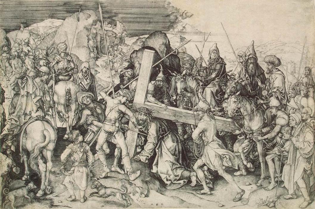 耶稣背着自己的十字架, 雕刻 通过 martin schongauer