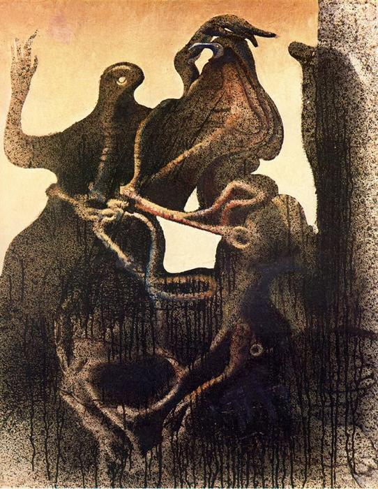 诞生 of Zoomorph 夫妻, 布面油画 通过 Max Ernst (1891-1976, Germany)