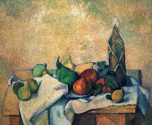 Paul Cezanne - Still 生命 ,  瓶 of rum