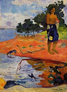 Paul Gauguin - 她下降到淡水(Haere佩普)