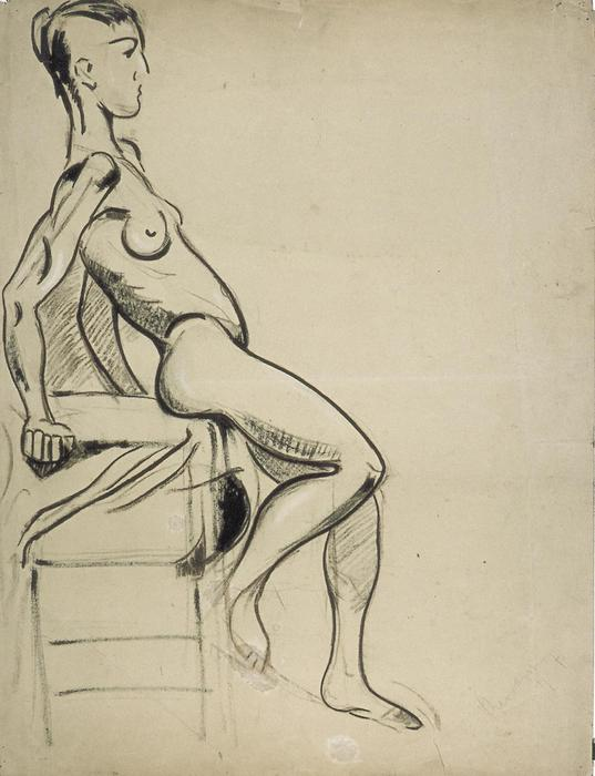 女性 裸体  上 `chair`, 木炭 通过 Theo Van Doesburg (1883-1931, Netherlands)