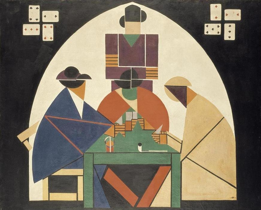 该Cardplayers, 油画 通过 Theo Van Doesburg (1883-1931, Netherlands)