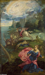 Tintoretto (Jacopo Comin) -  圣人 `george`  和  龙