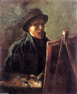 Vincent Van Gogh - Self-Portrait  与 黑毡 Hat  在 画架